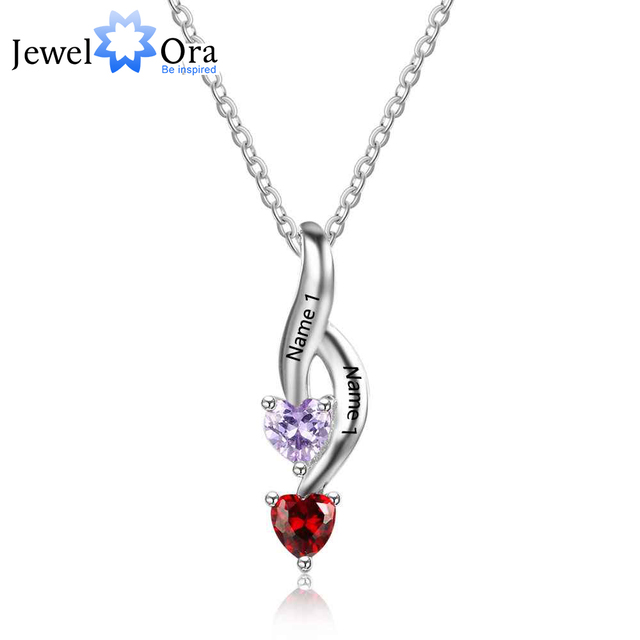 NEW Personalized 925 Sterling Silver 2 Birthstone Necklace Pendants Mom Girlfriend  Birthday Christmas Gift JewelOra NE101874