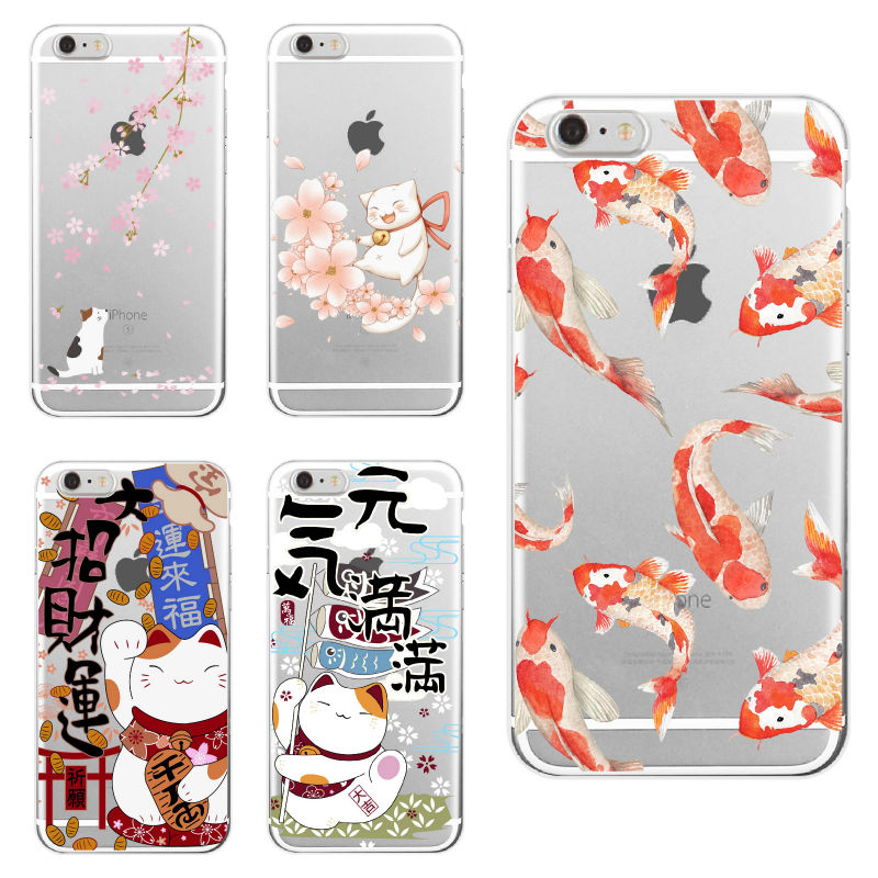 For iPhone 11 Pro 6S 7Plus 7 8 8Plus XS Max Koi Fish Cherry Blossom Lucky Cat Japanese Pattern Soft Clear Phone Case Fundas