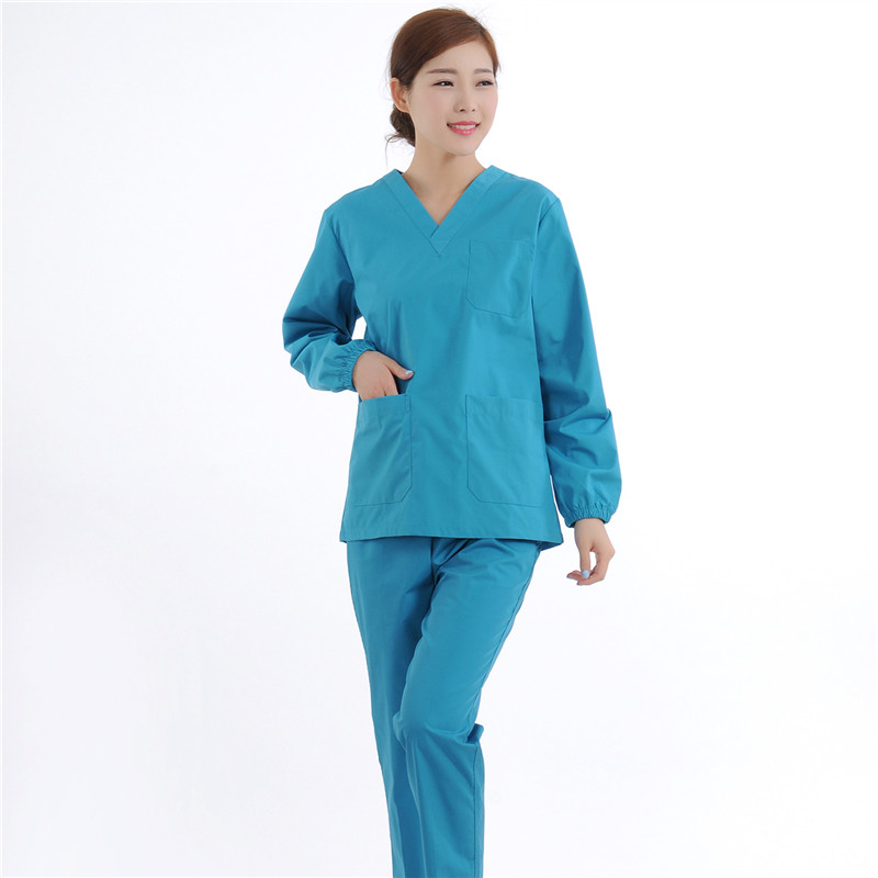 New Women Medical Scrub Sets Nurse Hospital Uniforms Dental Clinic Beauty Salon Long Sleeve Medical Workwear Slim Fit  2052