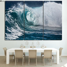 Printed Blue sea waves Painting Canvas Print room decor print poster picture canvas Free shipping/NY-5750(China)