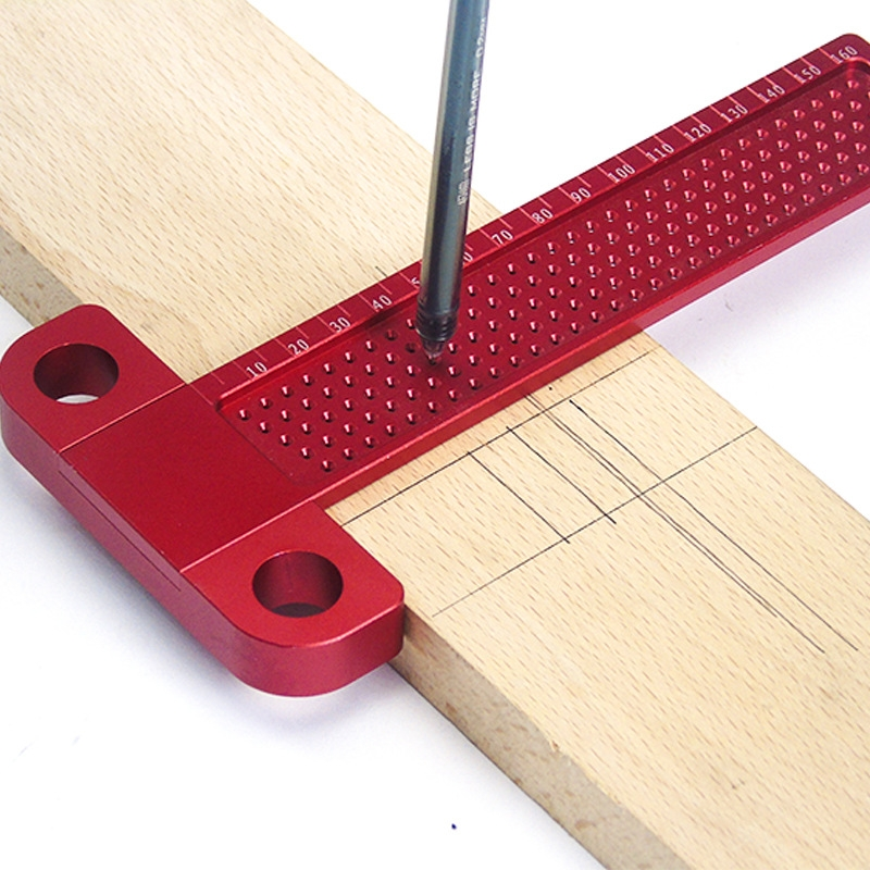Woodworking Scribe 160mm T-type Ruler Hole Scribing Gauge Aluminum Crossed Feet Woodworking Crossed-out Tool Measuring Tool