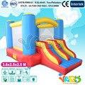 Dupla combinação de slides trampolim inflável brinquedo crianças casa do salto inflável com ventilador de ar