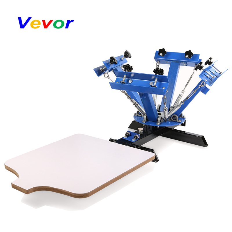 VEVOR Screen Printing Machine Press 4 Color 1 Station Silk Screen Printing Machine Adjustable Double Spring Devices