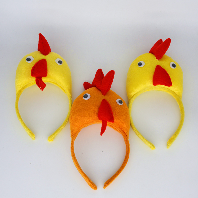 Animal 3D Chicken Headband Kids Adults Boy Girl Cosplay Headwear Birthday Costume Party Hair Accessories Halloween
