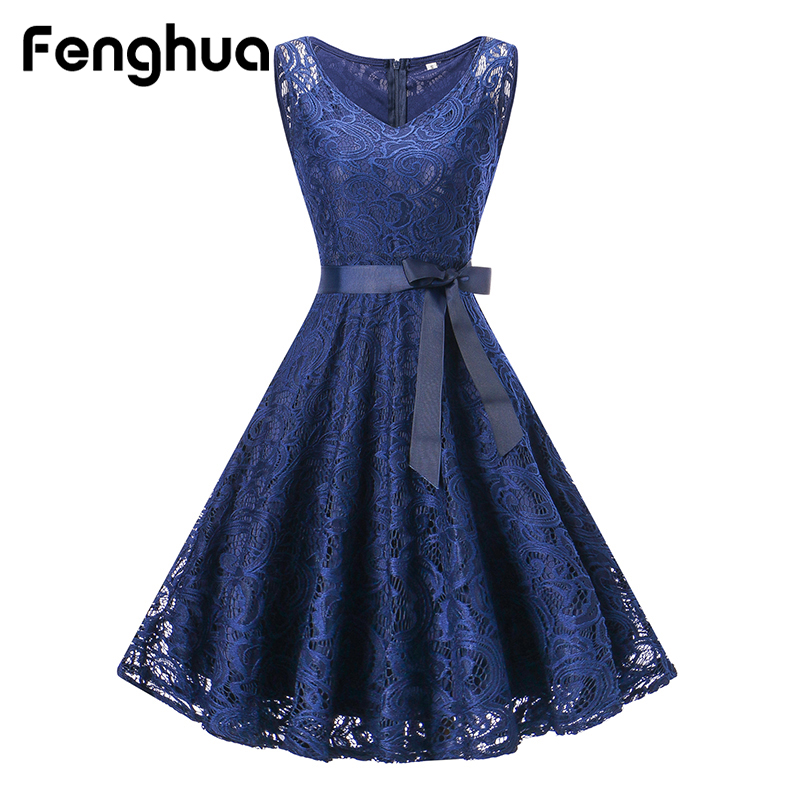Fenghua 2018 Mini Lace Dress Women Belted Ball Gown Party Dress Sleeveless V Neck Dresses Casual Slim Vestido Elegant Clothes