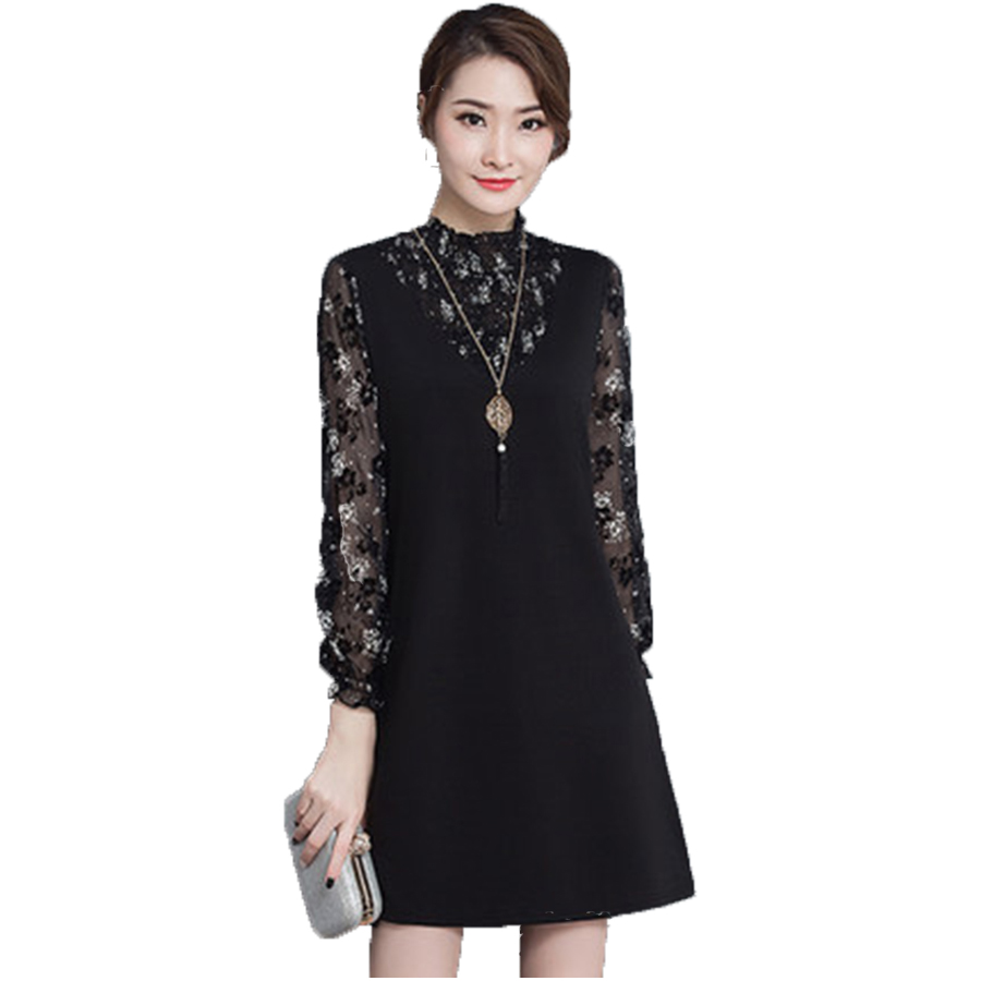 Elegante Frauen Kleid Langarm Plus Size Damen Kleider Koreanische ...