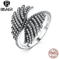 VOROCO 925 Sterling Silver PHOENIX FEATHER SILVER RING WITH CLEAR CUBIC Ring Women Engagement Fashion Jewelry