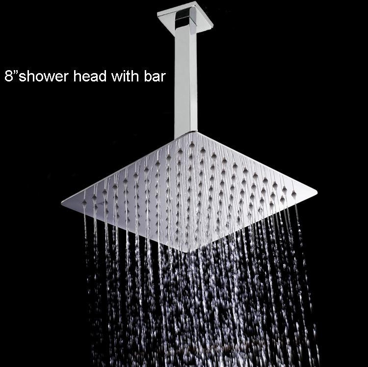 8 Stainless Steel Shower Head Ultra thin With Shower Arm Ceiling Mounted Rain showerhead free shipping