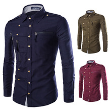 2017 mode Westlichen Shirts Männer Langarm Arbeit Shirts Männer Multi Reißverschlüsse Druckknopf Militar Männer Casual Shirts Kleidung M-2XL