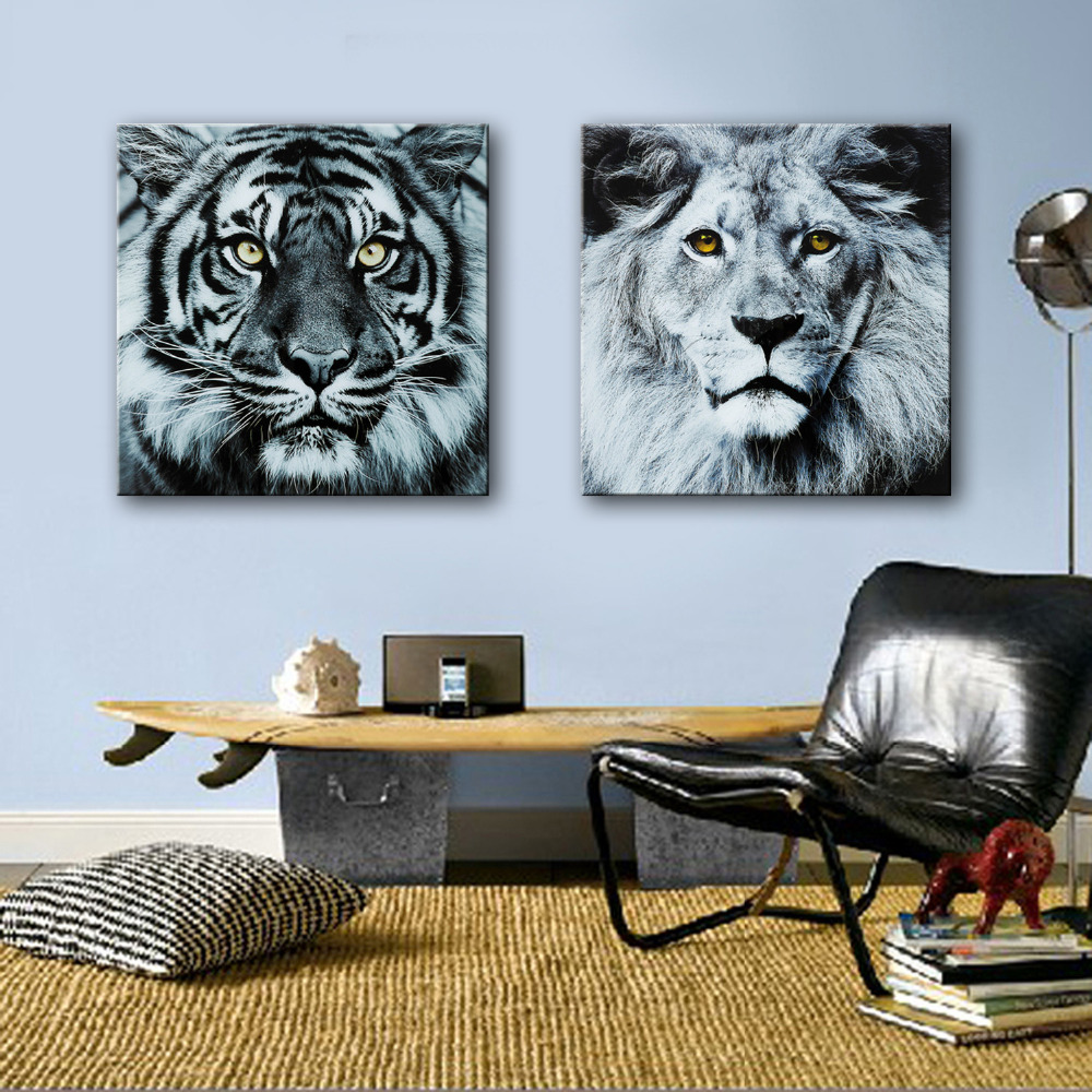 HD Oil Painting Tigers And Lion Decoration Painting Home