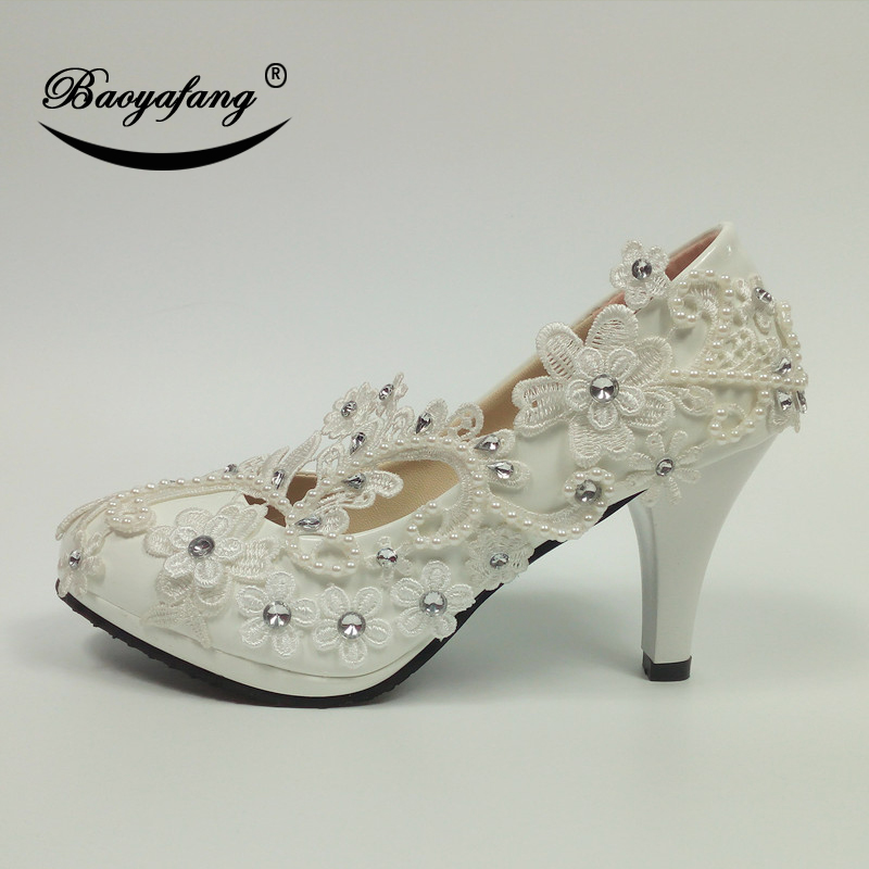 BaoYaFang White Lace Flower wedding shoes Woman High Heel shoes Crystal Ladies Party shoes Round Toe shallow Womens shoes