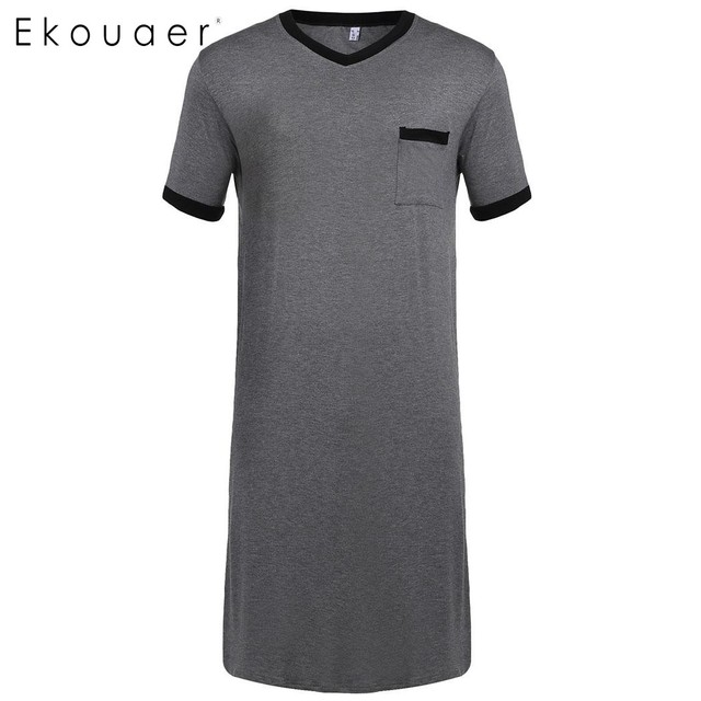 Ekouaer Men Sleepwear Raglan Sleeve Nightshirt Patchwork Long Lightweight Half Button Loose Pajama Casual Sleepshirt Homewear