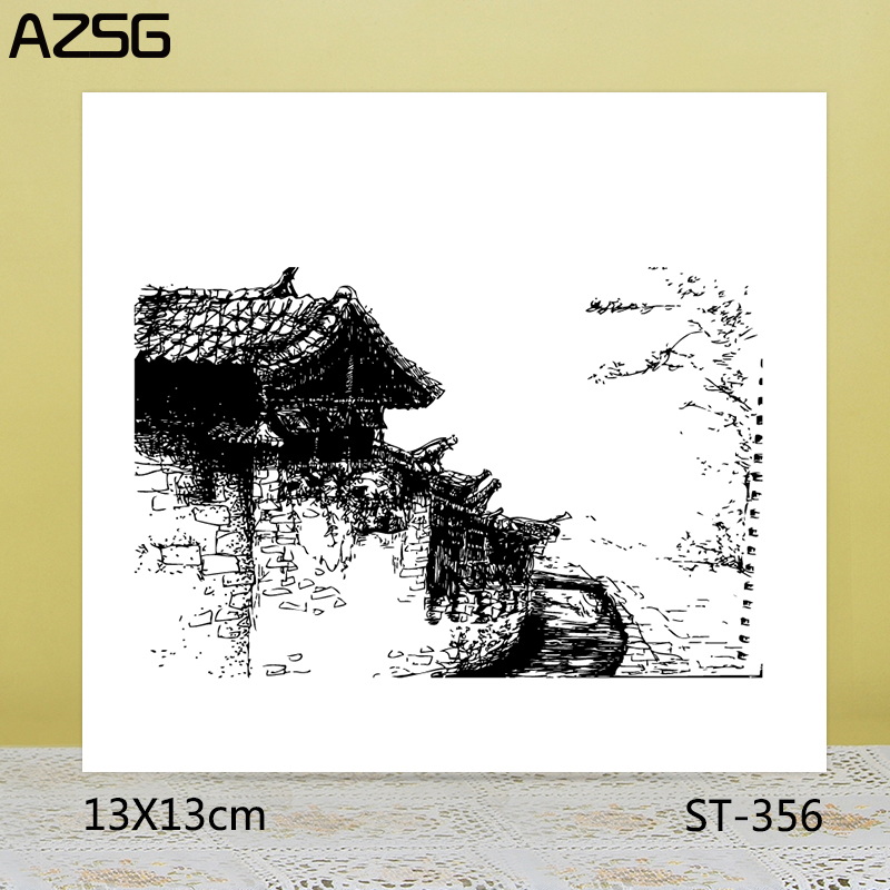 AZSG Shabby Ancient Temple Clear Stamps/Seals For DIY Scrapbooking/Card Making/Album Decorative Silicone Stamp Crafts