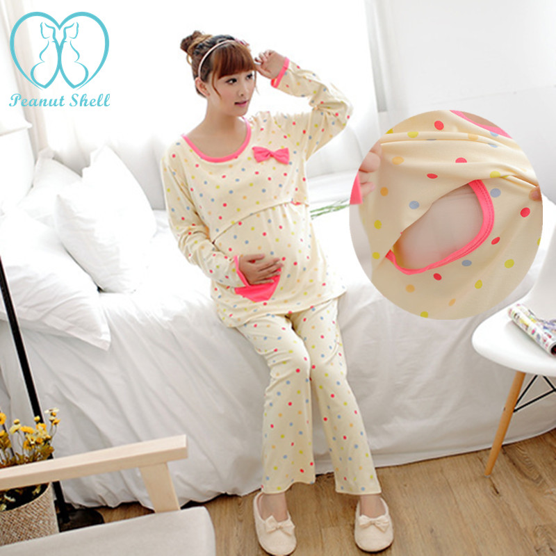 EVERLY GREY 5 PIECE MATERNITY NURSING PAJAMA SET. A lightweight sleepwear set features a three-quarter-sleeve striped robe and comfy coordinating pants, along with a surplice tank top made for easy and discreet nursing.