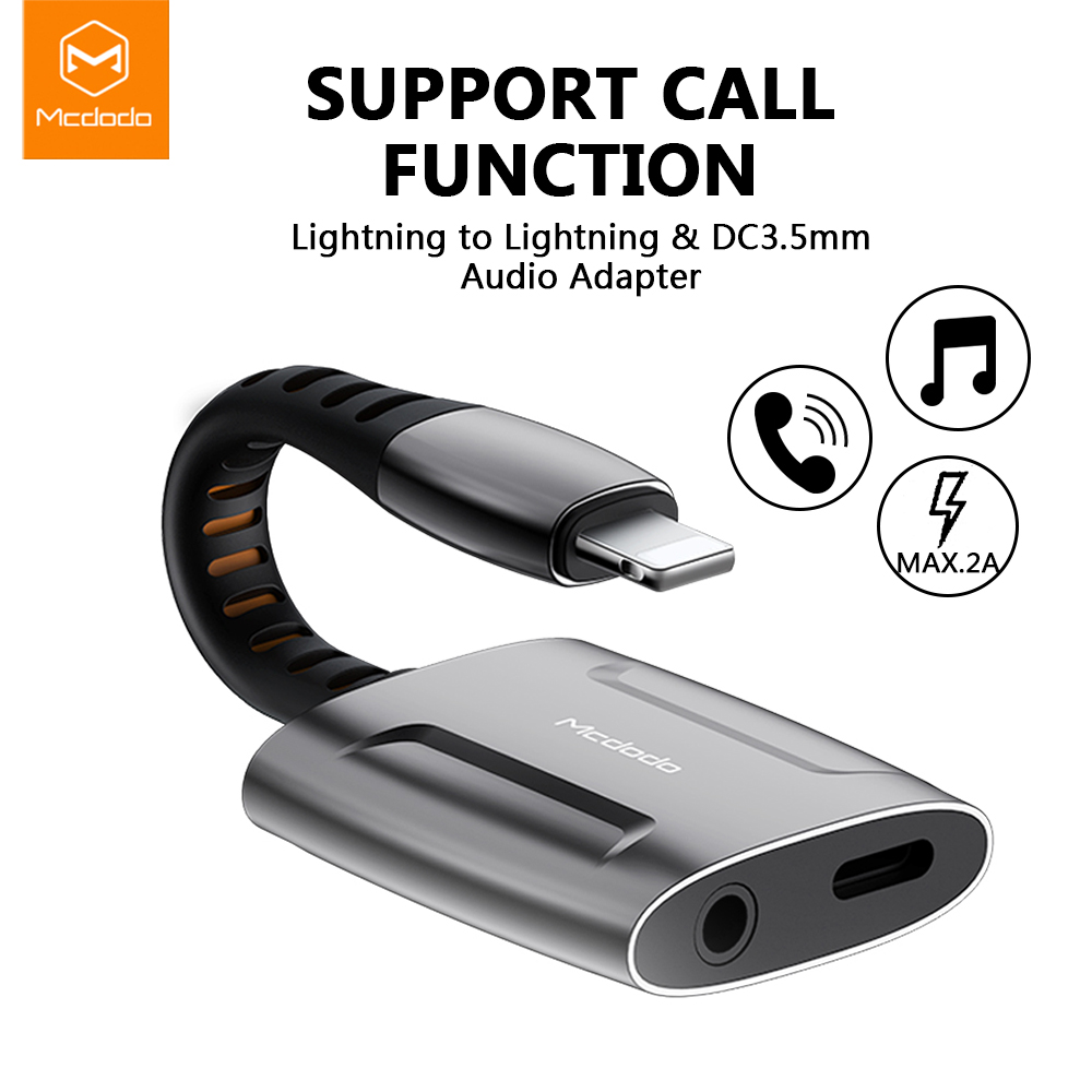 Mcdodo Aux Audio Cable Adapter Lightning To 3.5mm Jack Audio Earphone Headphone Converter Splitter For IPhone XR XS Adapter OTG