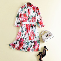 Fashion Runway Designer Summer Dress Women's Half Sleeve Casual Elegant Floral Printed A Line Chiffon Dress