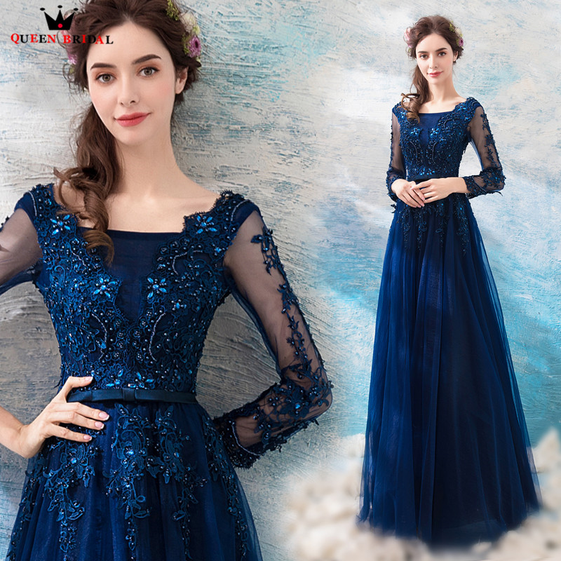 A-line Long Sleeve Tulle Lace Beaded Crystal Blue   Evening     Dresses   Prom Party   Dresses   Gowns Vestido De Festa QUEEN BRIDAL NT03