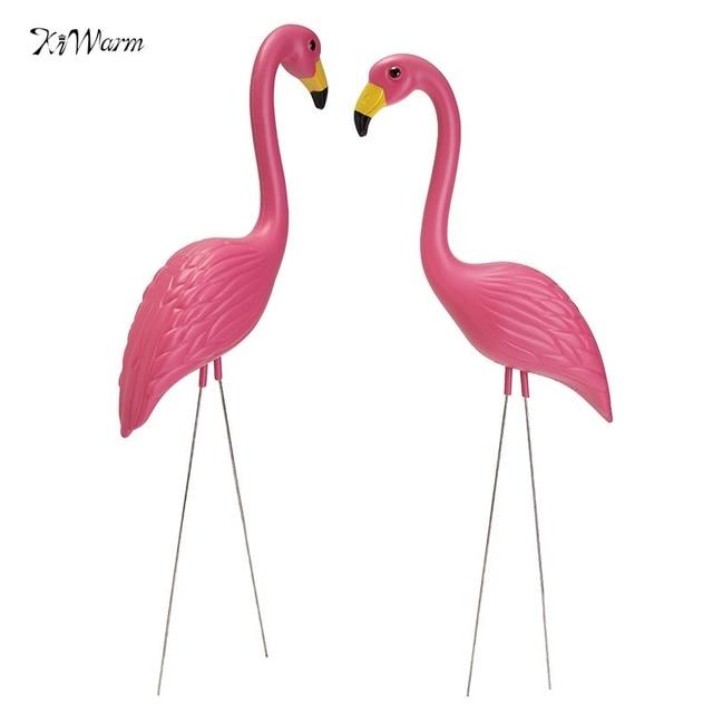 Kiwarm 2pcs Pink Flamingos Plastic Yard Garden Lawn Art Ornaments Retro Miniatures Decorative Figurines Home Decor
