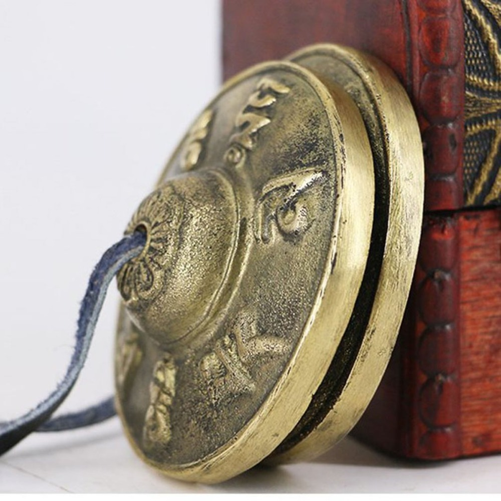 2.6in/6.5cm Handcrafted Tibetan Meditation Tingsha Cymbal Bell With Buddhist The Eight Auspicious Symbols  Lucky Symbols