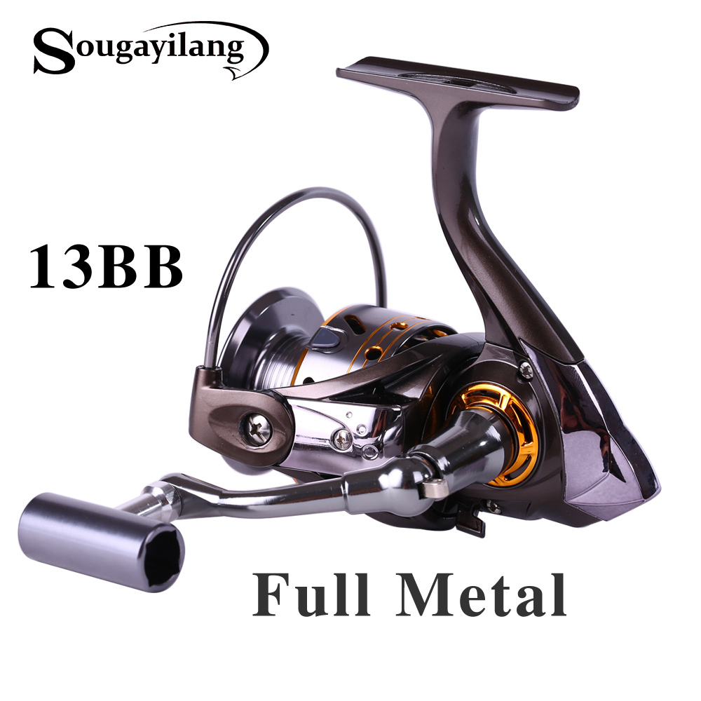 Sougayilang Feeder Spinning Fishing Reel China Left Right Reel Fishing Gear Coil 12+1 Ball Bearing Metal Sea Fishing Reel Peche 12 1 bb ball bearing left right fishing spinning reels sea fish line reel