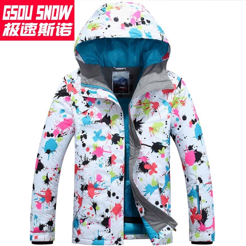Gsou neige coloré ski costume femme snowboard veste veste ski femme hiver veste femme ski veste skiwear chaud esqui - 3