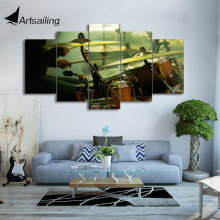5 piece HD Printed Canvas Painting Musical Instruments Drum Posters Wall Pictures for Living Room Modern Free Shipping CU-1859B