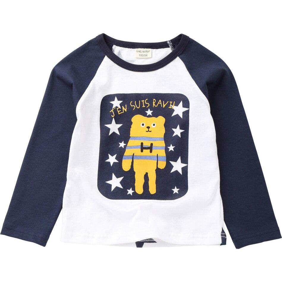 New Cute Bear Printed T Shirts Autumn 2018 Children Tops Kids Clothing Boys T-shirts Long Sleeve Girls Blouse Cotton Tshirts