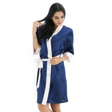 Sexy Women Short Night Dress V-Neck Faux Silk Kimono New Style Yukata Bathrobe Bridal Wedding Robes Casual Nightgown S M L XL XX(China)