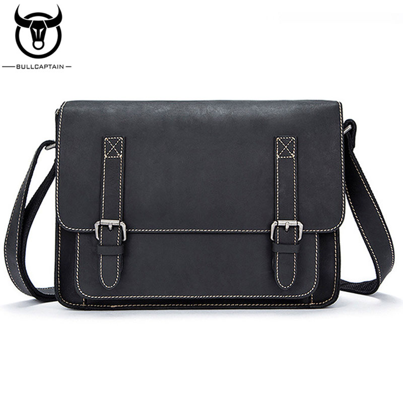 BULLCAPTAIN New Men Crazy Horse Cowhide Business Cross Body Bag Messenger Briefcase Travel Casual Shoulder Bag Leather Bag new 2016 men s shoulder bag man bag portable diagonal cross section korean version of casual travel bag crazy horse