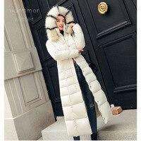 2019winter jacket women parka Big fur collar thickening Down cotton long Slim fit jacket women Outwear Parkas