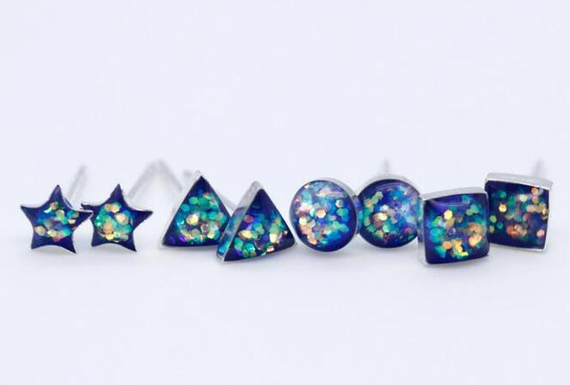 8650a8096 5MM Small earrings Real. 925 Sterling Silver Pressed Sequins design Square/ Triangle /Round /Star Geometric Stud Earrings GTLE807