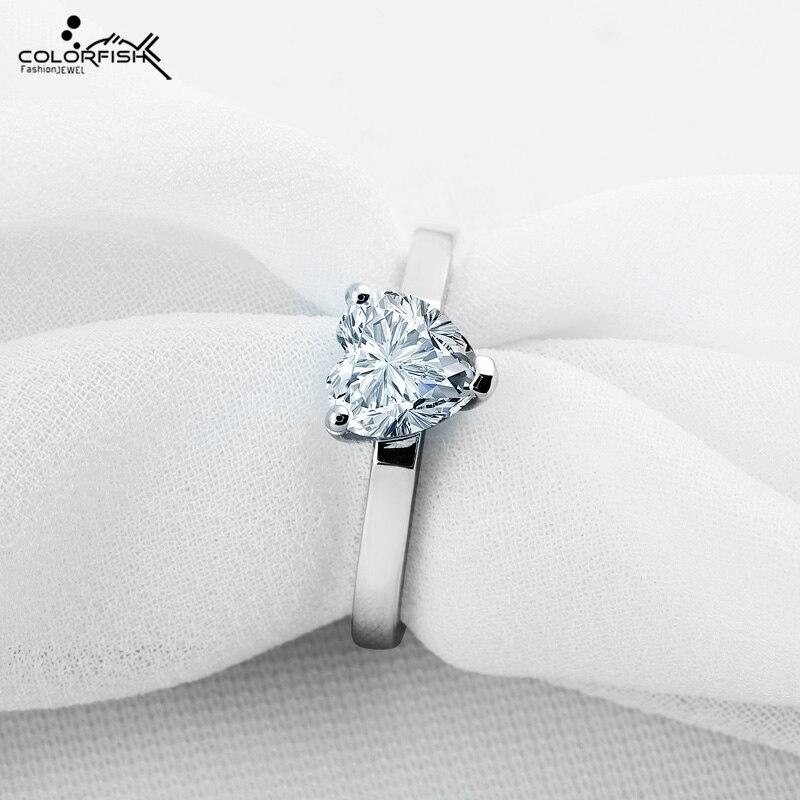 COLORFISH coeur forme argent anneaux pour femmes 925 argent Sterling 1.25 ct Solitaire bague de fiançailles coeur coupe bijoux de mode