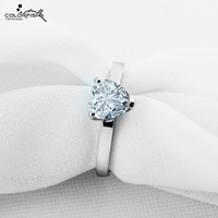 COLORFISH Heart Shape Silver Rings For Women 925 Sterling Silver 1.25 ct Solitaire Engagement Ring Heart Cut Fashion Jewelry