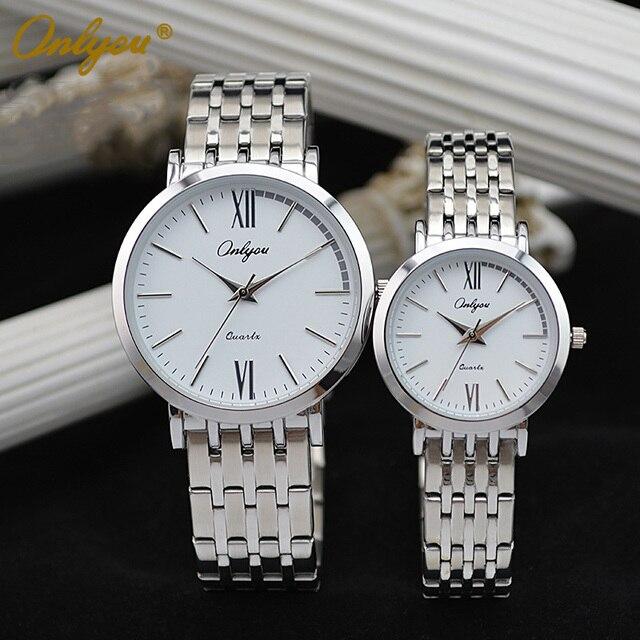 Onlyou Luxury Brand Steel Watches Women Men's Quartz Movement Business Wrist Watches 30m Waterproof relogio masculino    81009