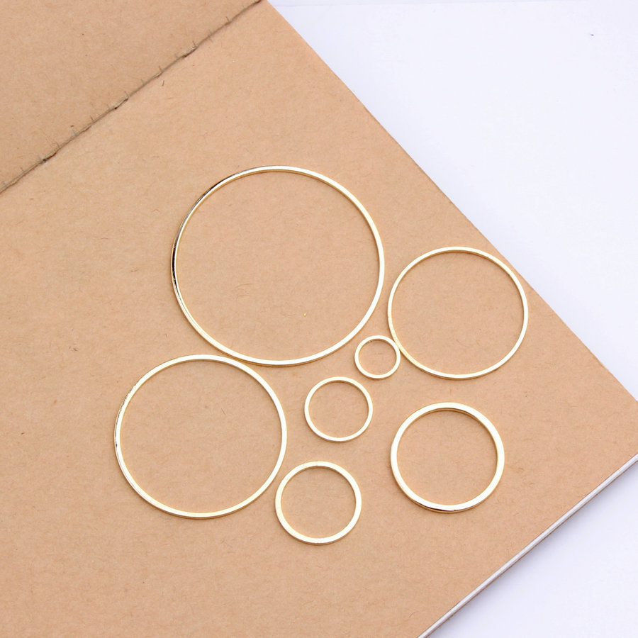 50pcs/lot Copper Gold Color Round Jewelry Accessories Fashion Contract Geometric Earrings Pendants DIY Making&Finding