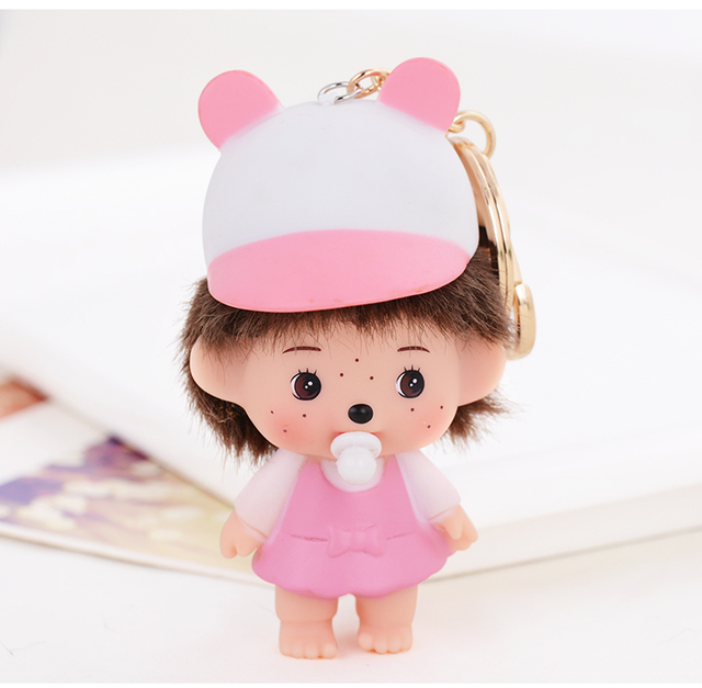 Cute Cartoon Monchichi Doll Keychain chaveiro feminino Key chain Purse charms Bag Pendants New key chain women