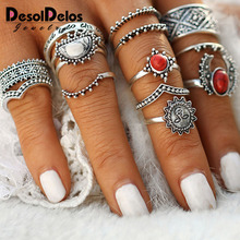 14pcs/Set Vintage Silver Moon and Sun Midi Ring Set Pattern for Women Female Red Large Stone Knuckle Ring Gift недорого
