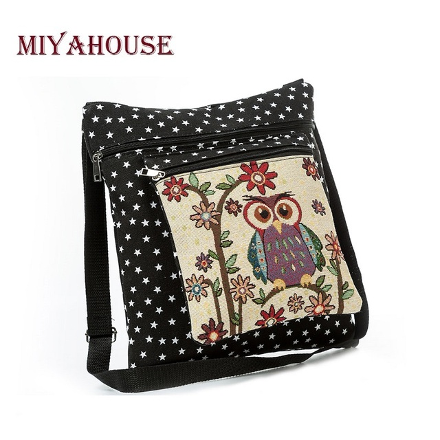 Casual Cartoon Printed Canvas Shoulder Bag Women Embroidery Owl Crossbody Bag Stars Print Messenger Bag