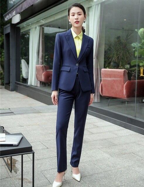 cc6c39d6ab04 Formal Ladies Navy Blue Blazer Women Business Suits Formal Office Suits  Work Wear Pant and Jacket Set Office Uniform Designs