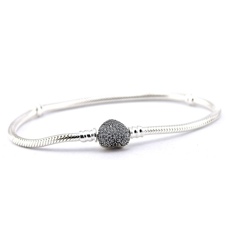 Pandulaso Pave Heart Clear CZ Bracelets Bangles 925 Sterling Silver Charm Bracelets for Women Jewelry Wholesale
