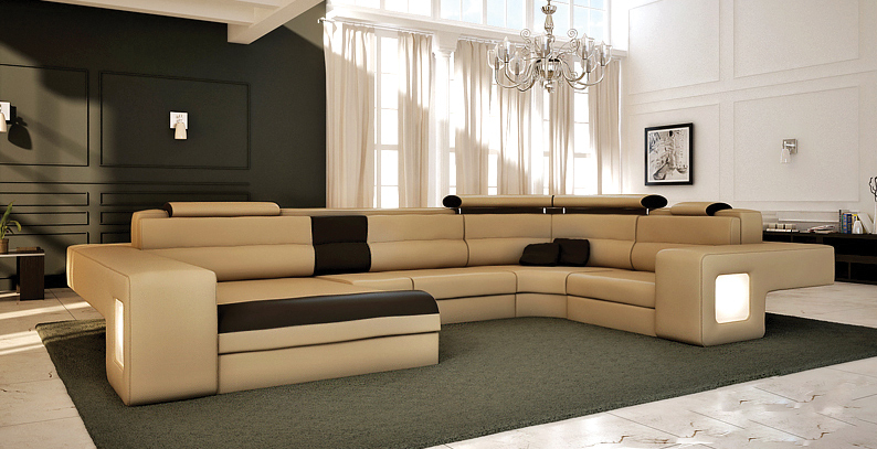 Modern Living Room Furniture U Shape Leather Sofa Corner 1004