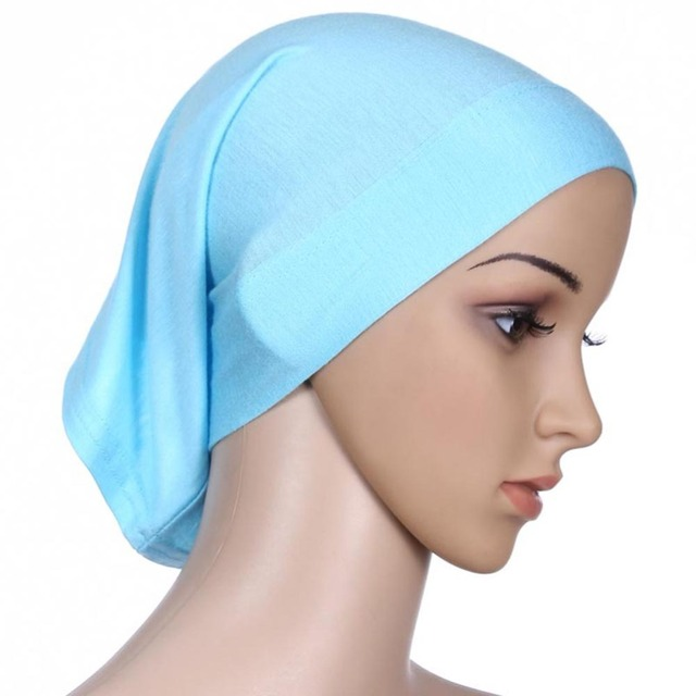 Women Islamic Hijab Cap Scarf  Tube Bonnet Hair Wrap Colorful Head Band