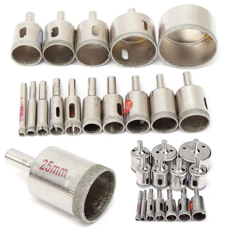 Juego de brocas de Metal de diamante de 15 en 1 Juego de sierra de agujero para mármol de cerámica de vidrio de 6mm-50mm