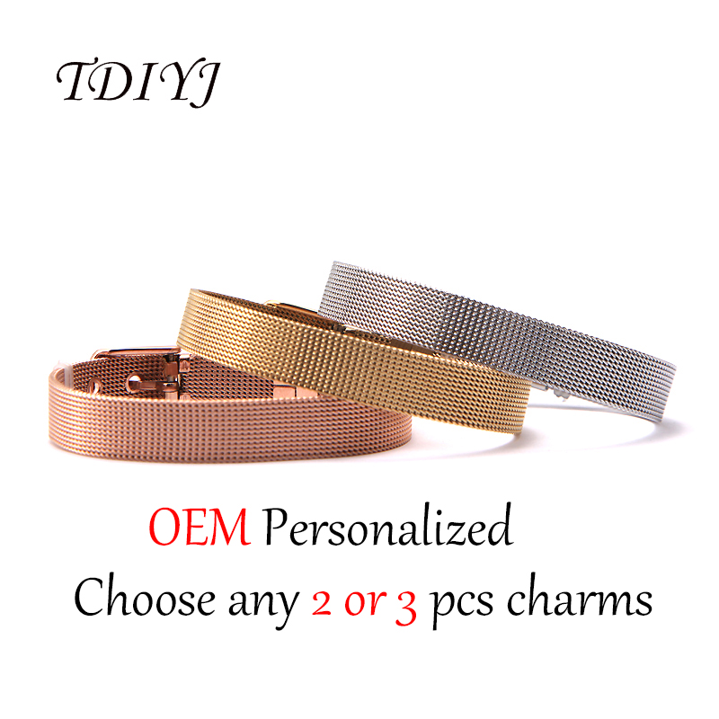 TDIYJ Newest Stainless Steel Personalized Mesh Bracelet Can Choose any 2 or 3Pcs Slide Charms to Finish Your Own Bracelet купить в Москве 2019