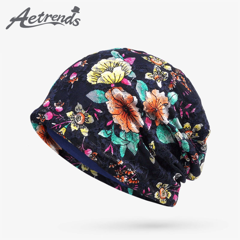 [AETRENDS] 2017 Autumn Lace Floral Beanie Hats for Women Thin Female Caps Slouchy Beanies Z-5345 female caps for autumn