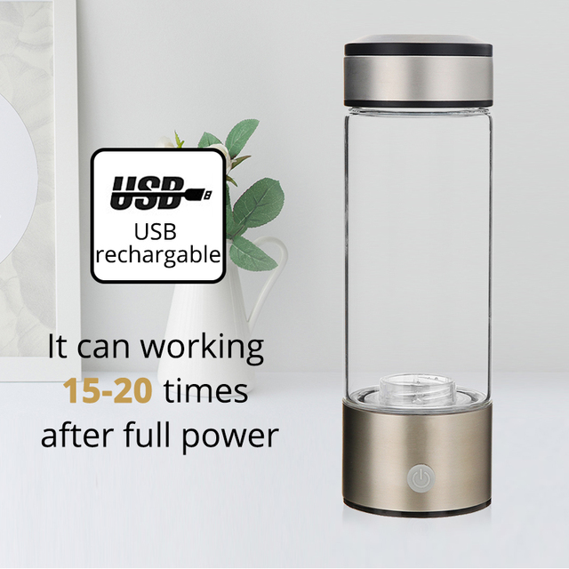 Healthy Anti-Aging Hydrogen Rich Water Bottle Generator 380ml USB Rechargeable Hydrogen Rich lonizer Alkaline Water Maker 4