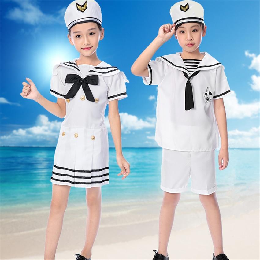 Kids Army Summer Military Uniform Sailor Suit Stage Performance Choir Boys Navy Clothes Girls Hat&Clohting Set 110-160CM ...