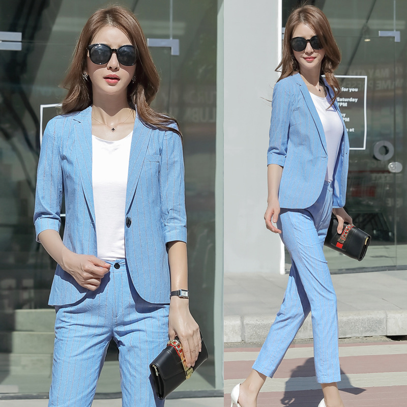 Work Pant Suits OL 2 Piece Sets Double Breasted Striped Blazer Jacket Zipper Trousers Suit For Women Outfits Feminino Spring