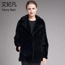 Женская Шуба из овчины, зимнее плотное теплое шерстяное пальто из натурального меха, женская верхняя одежда, черная длинная куртка из овечьей шерсти
