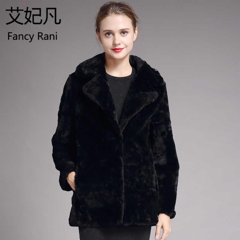 Kulit Domba Asli Mantel Bulu untuk Wanita 2018 Musim Dingin Hangat Tebal Bulu Alami Wol Mantel Wanita Lebih Tahan Dr Hitam Domba Dicukur Panjang jaket